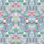 Lewis & Irene - Jolly Spring - 6350 - Garden Gnomes & Flowers on Blue - A341.2 - Cotton Fabric